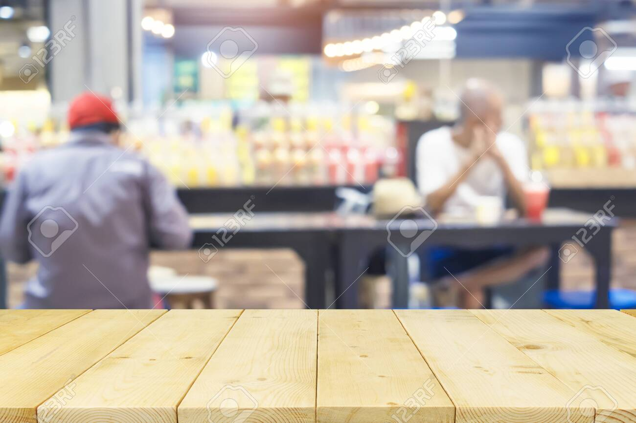 Food center montage with wood table top suitable for product display and background. - 140781503