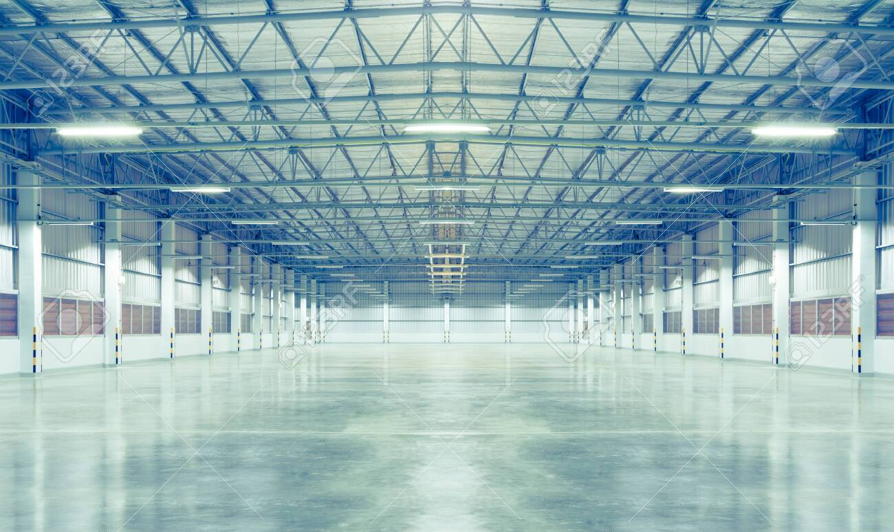 Factory background with concrete floor, night scence. - 140977201