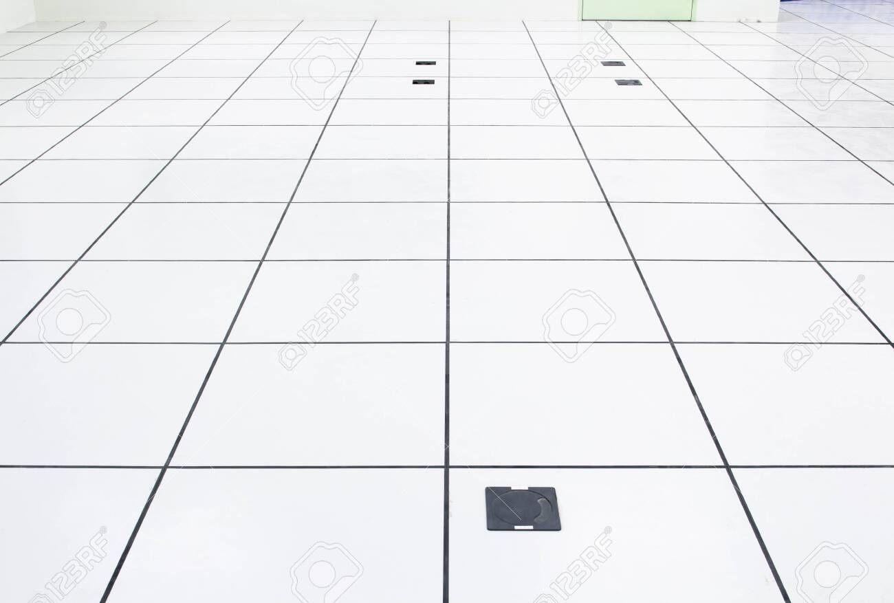 Raise floor and electrical socket with grid line in perspective view. - 150510280
