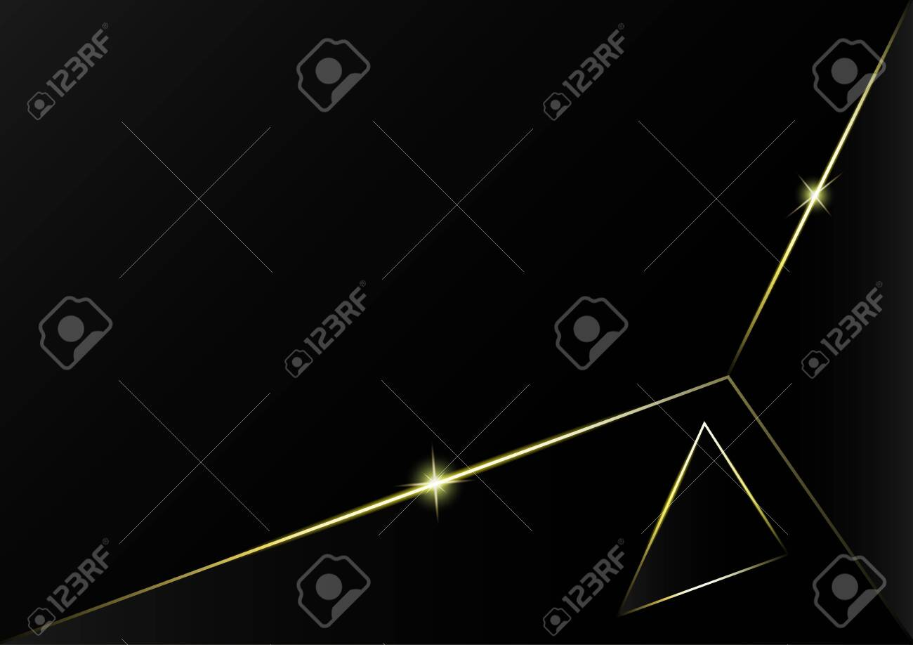 Abstract polygonal pattern luxury golden line with black template background.Vector background can be used in cover design, book design, poster, cd cover, flyer, website backgrounds or advertising. - 145673033