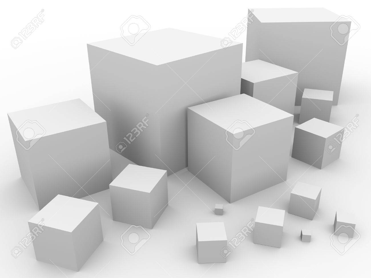 Some cubes with different sizes  Abstract illustration Stock Photo - 16975903