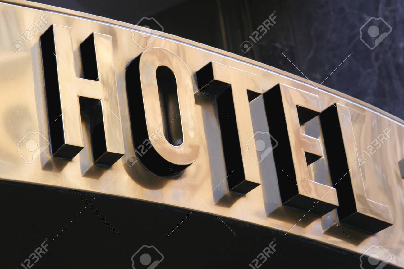 golden sign hotel in the city Stock Photo - 17031280