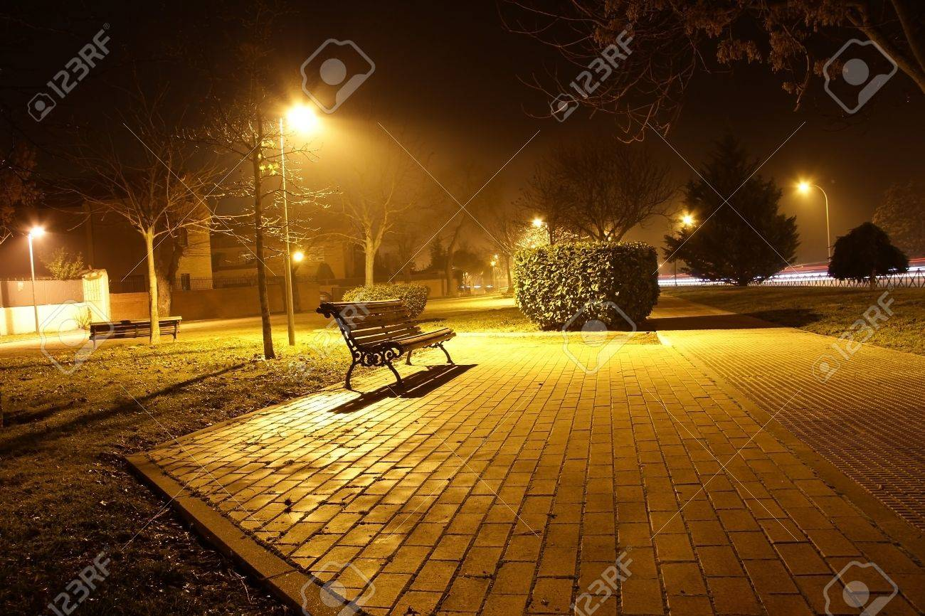 Night View Of A Park Bench In The Pool Of Light Cast By A Street