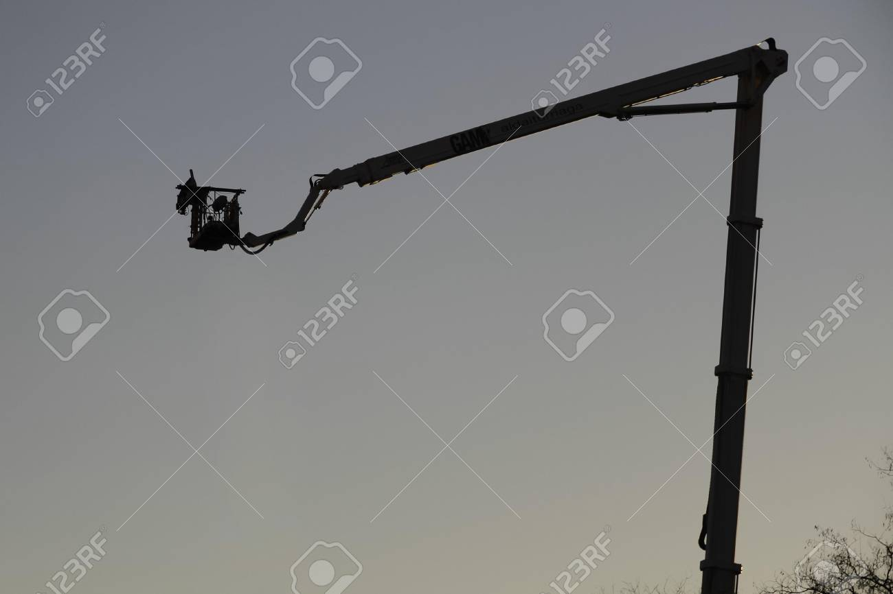 Silhouette of crane on the sunset background Stock Photo - 17155814