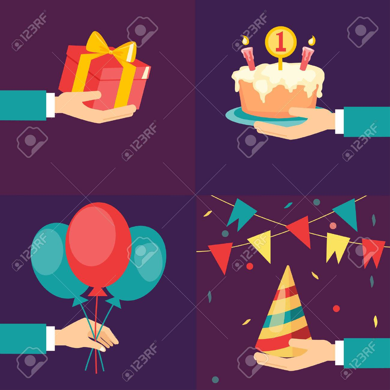 Vector birthday and party icons and signs - collection flat style - 25314558