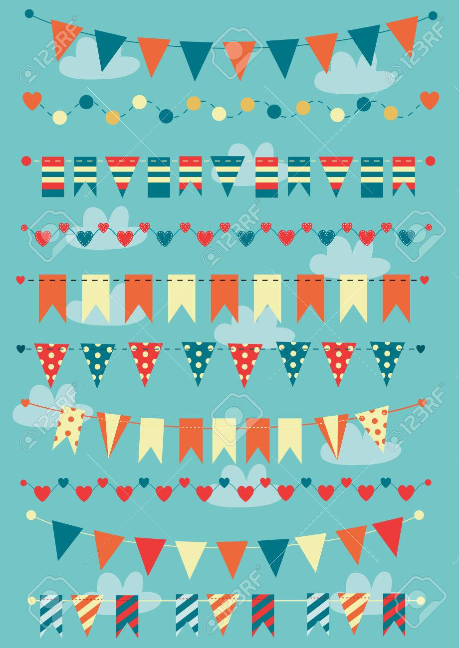 Colorful bunting and garlands - 26572876