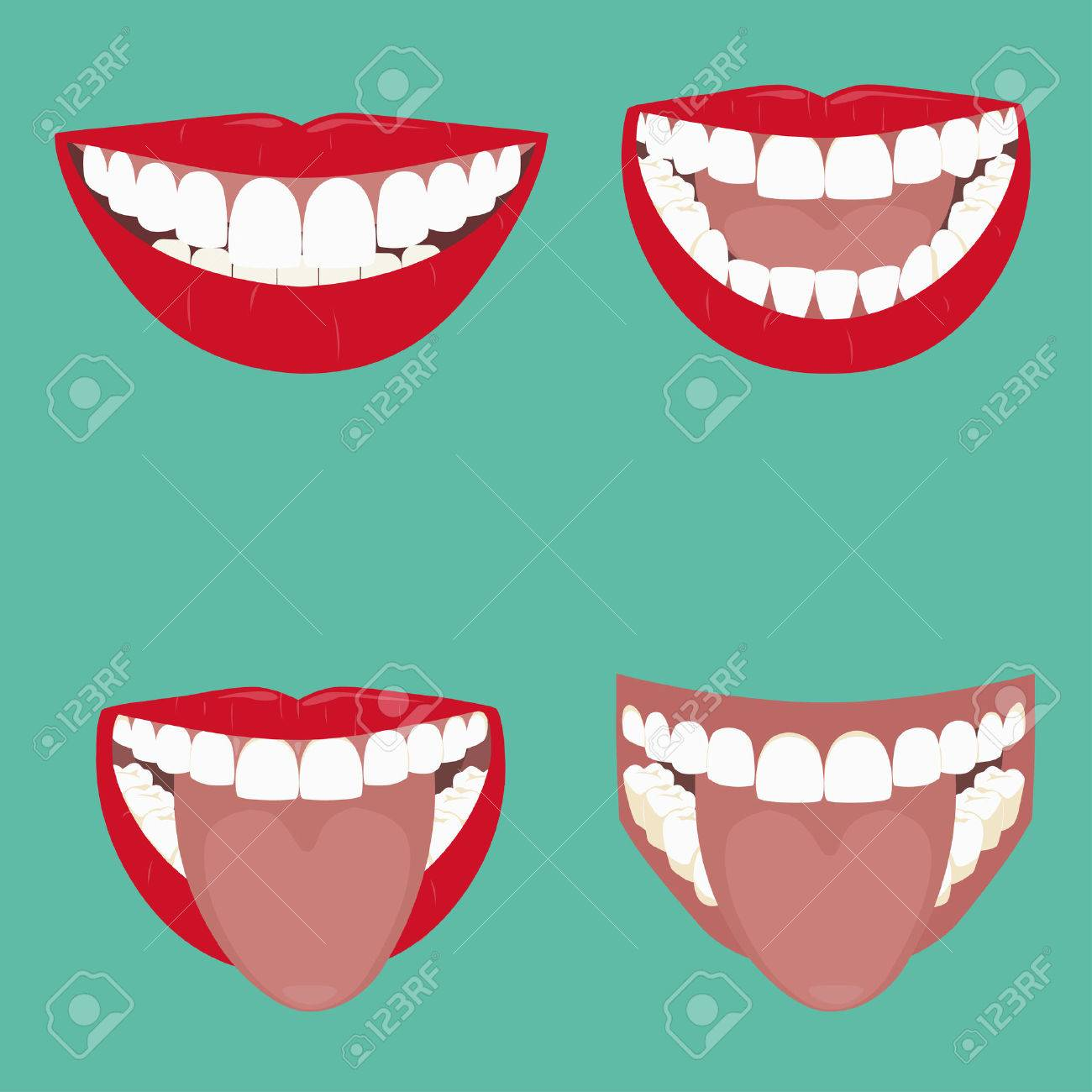Open Mouth Vector illustration. beautiful smile with teeth - 32345045