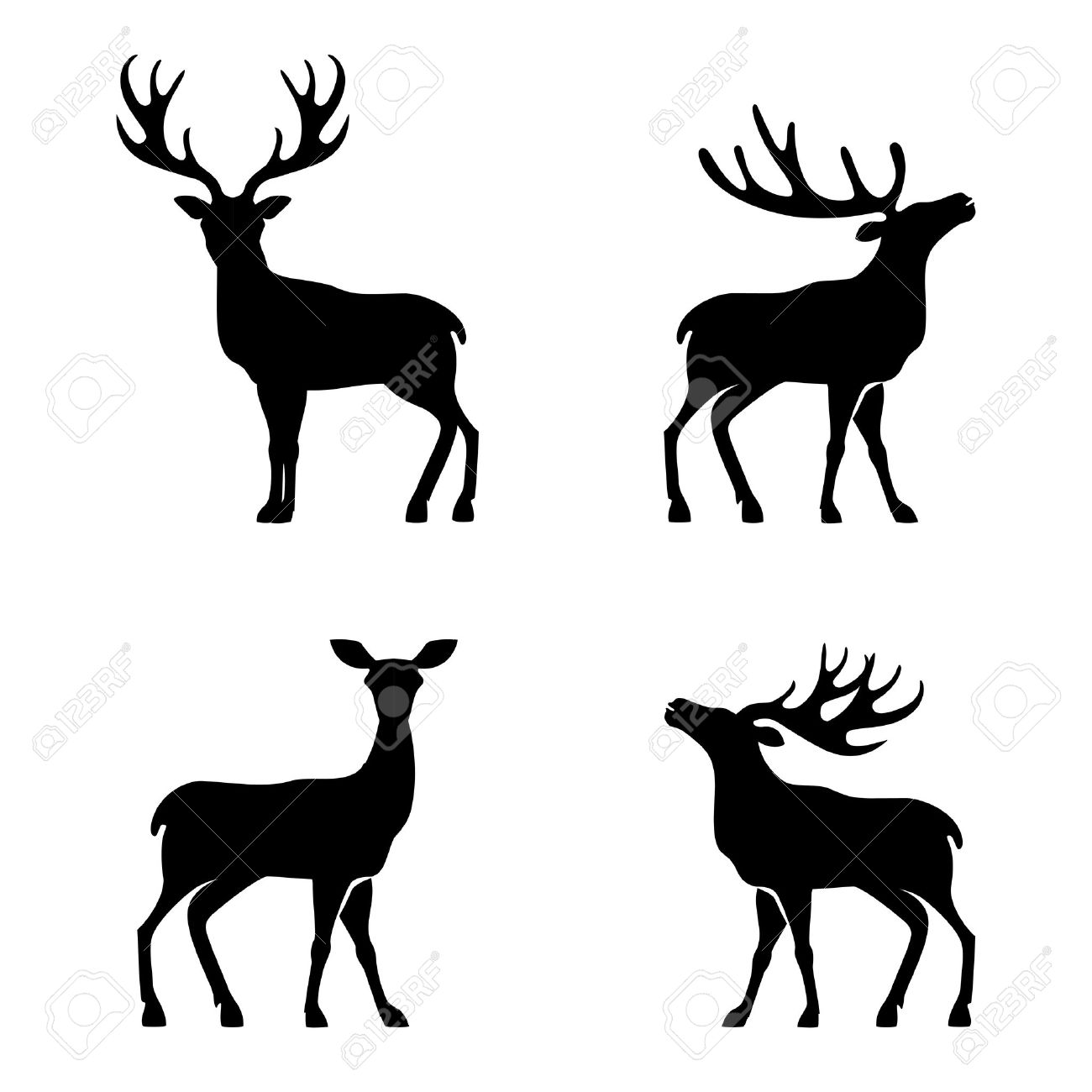 Vector illustration of collection of deers silhouette - 33235750