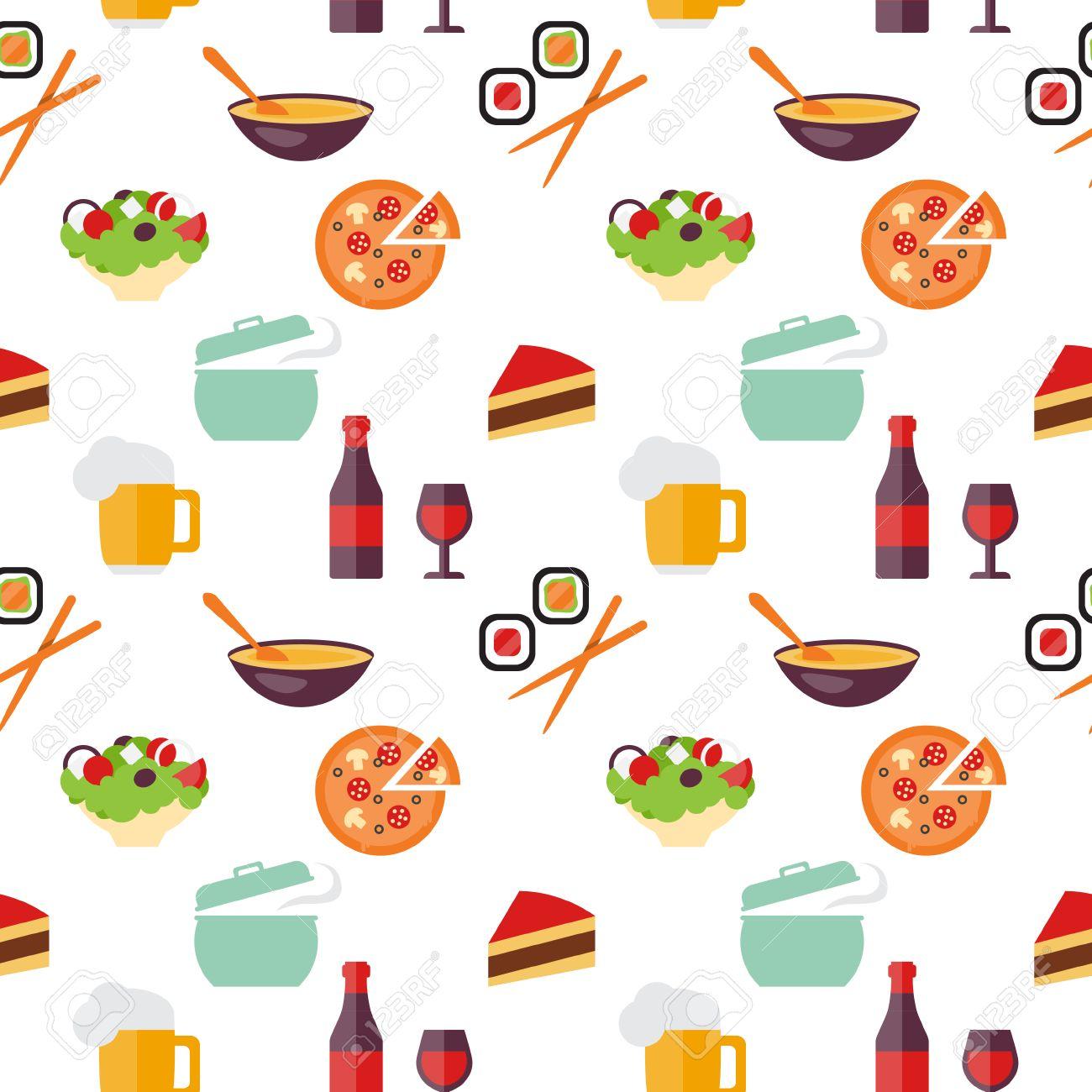 Nahtlose Muster Essen Restaurant, Sushi Und Fast-Food-Themen. Flache ...
