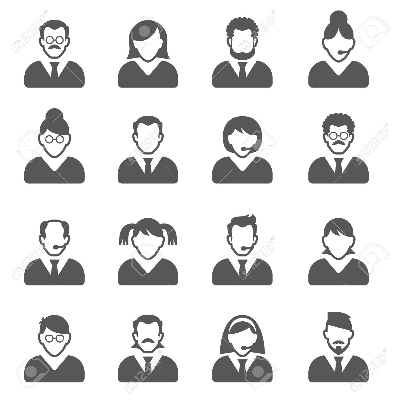 User Icons and People Icons with White Background - 39636143