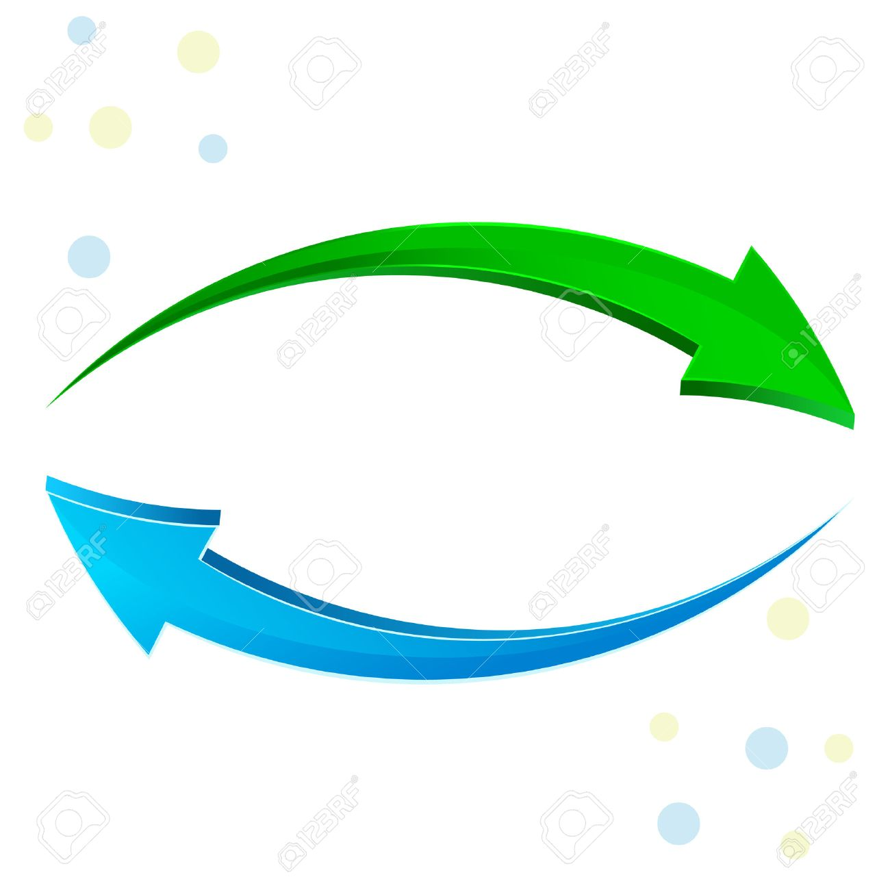 3d glossy refresh icon, green and blue arrows isolated on white - 40979290