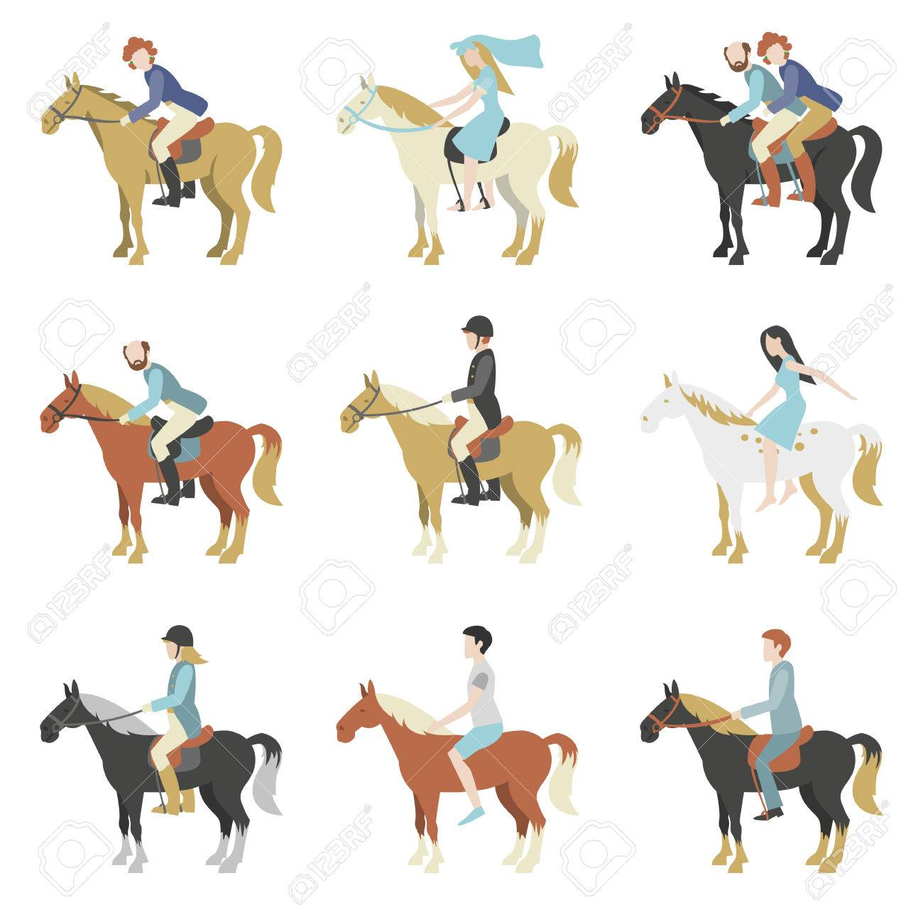 Horse riding lessons. Vector illustration in a flat style. - 45918710