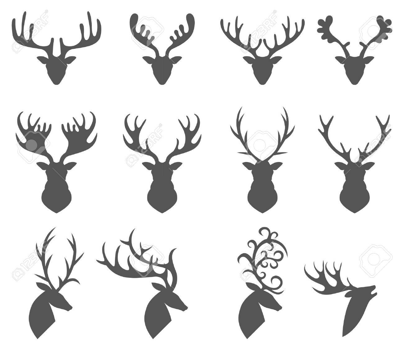 Vector illustration of collection of deers silhouette - 46474345
