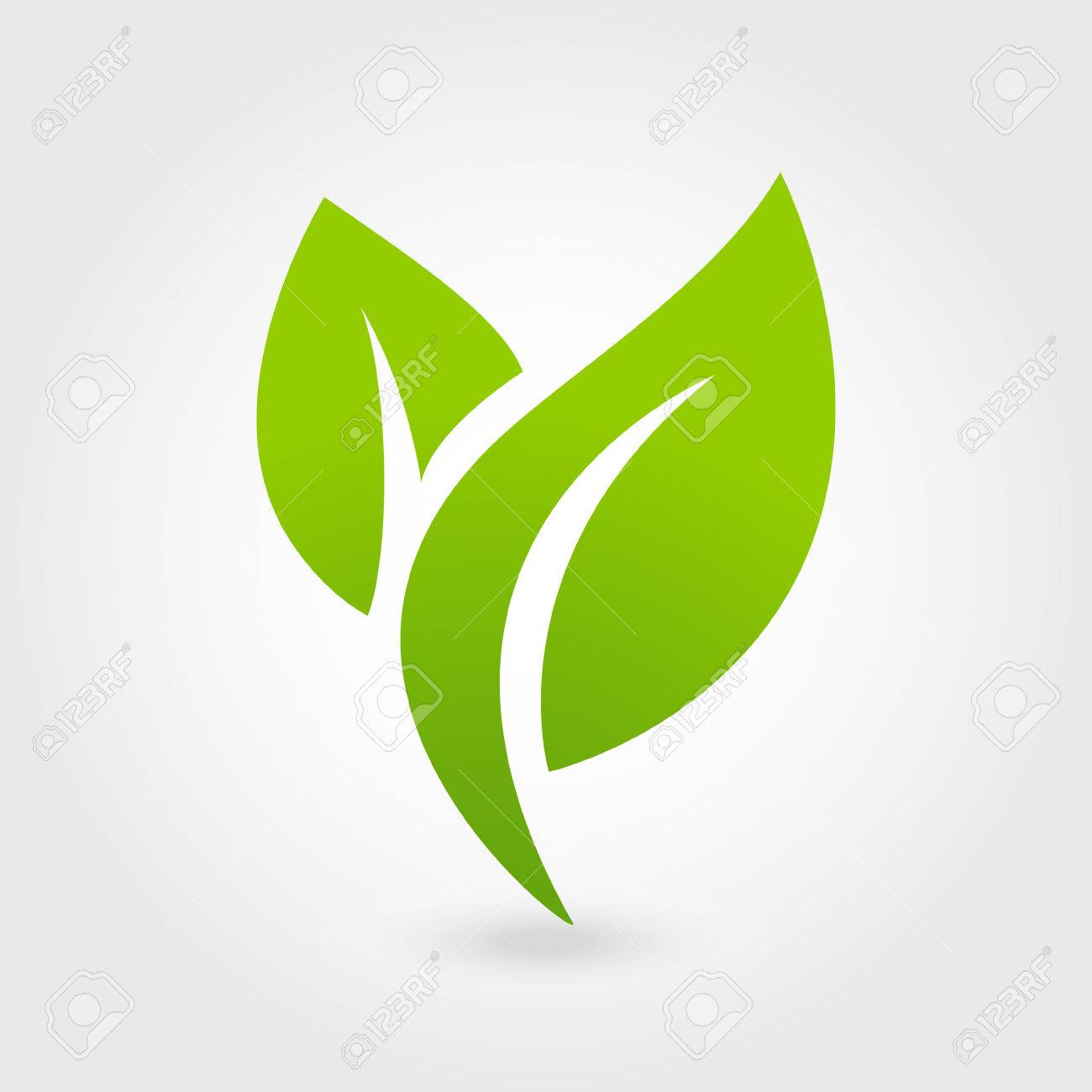 Abstract leafs care vector logo icon. Eco icon with green leaf. - 50559166