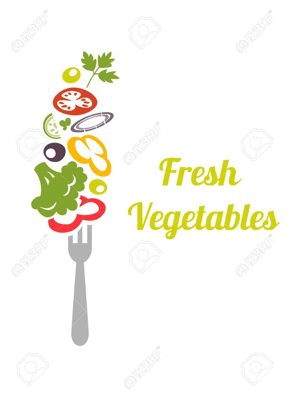 Fresh mixed vegetables on fork. design vector template. concept icon. Chopped vegetables tomatoes, broccoli, lettuce, onion, cucumber, peppers, skewered on a fork. - 51914739