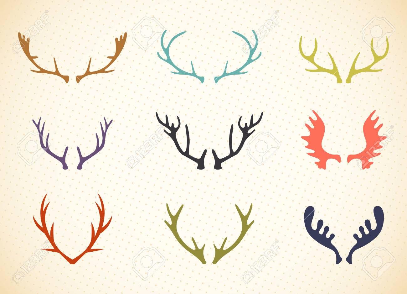 reindeer antlers illustration in vector deer horns label set