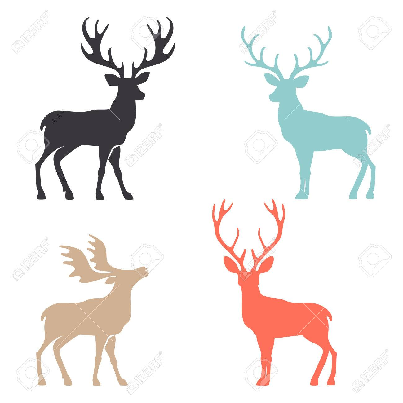 Various silhouettes of deer isolated on white background, christmas deers. - 52408963