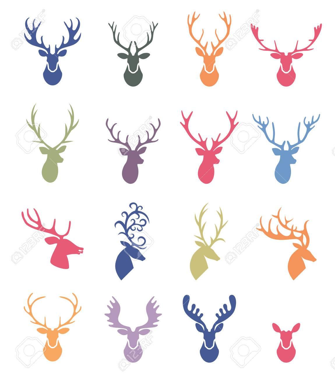 Rentiergeweih Illustration Deer Hörner Label Festgelegt Lizenzfrei