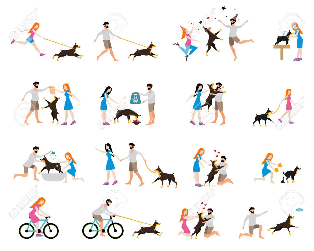 Professional dog walking. Caring for a dog doberman, washing the dog, clean up the excrements, feeding, playing and walking, cycling with a dog. Girl to train and care for a dog. Flat style. - 54326409