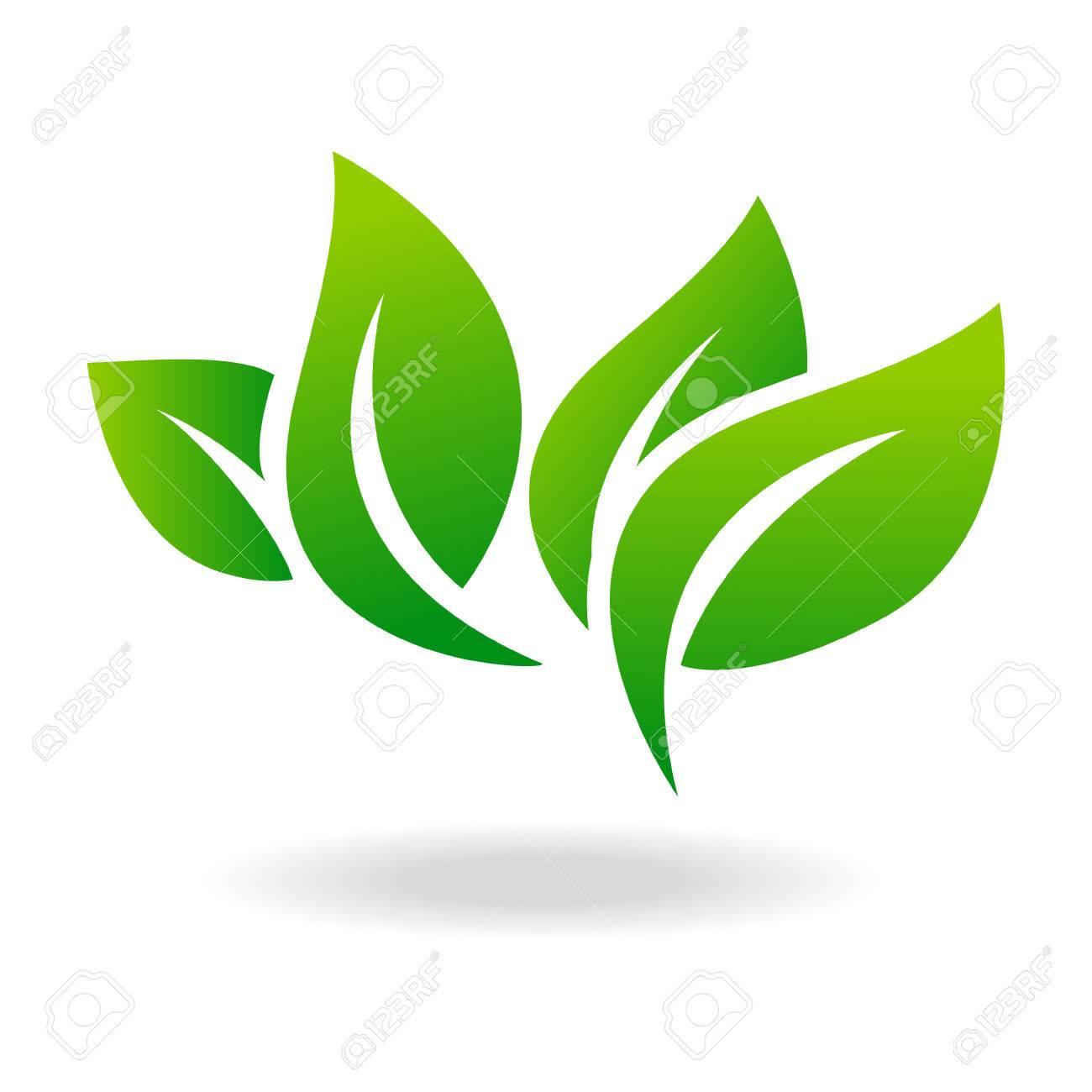 Leaf shape icon and green leaf emblem. Ecology green leaf organic environment, tree leaf . - 59409355