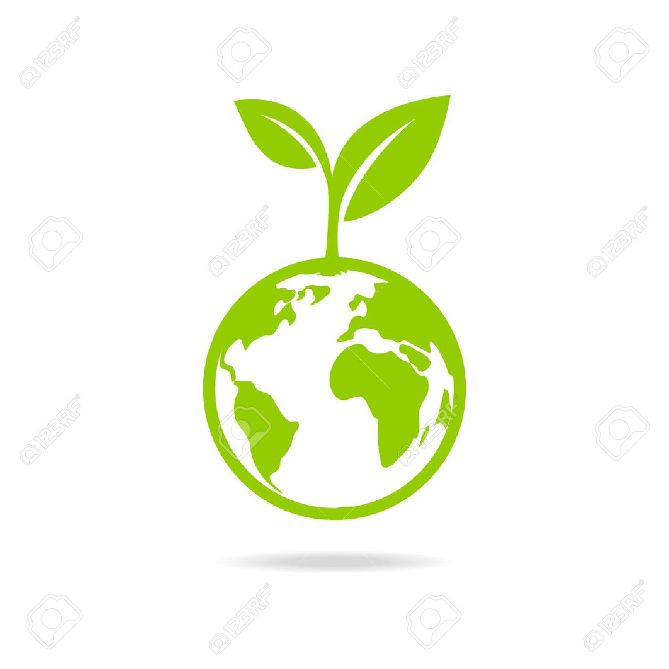Green leafs and globe Eco icon, mockup save planet . - 59409364