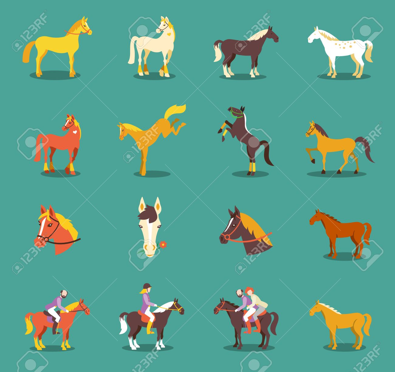 Group of the horses isolated on the blue background. Cute cartoon horse farm animals. - 60555580