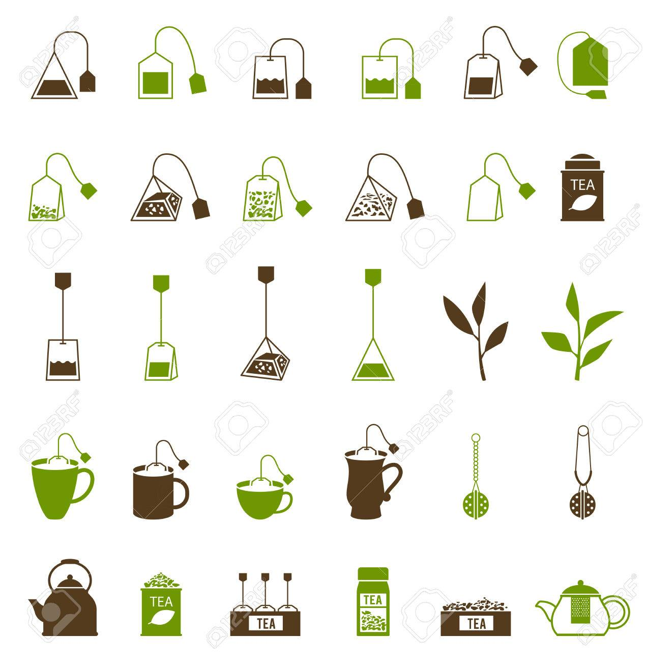 Coffee and Tea cup icon. Teapot and tea bag, tea ceremony. Fresh tea and green leaves. - 62841915