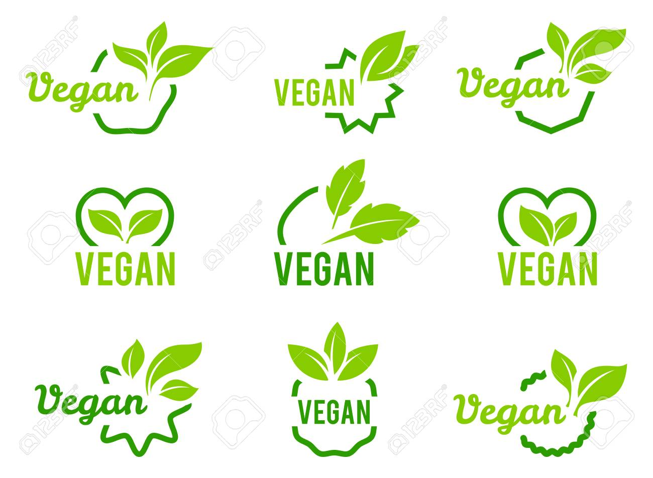 Vegan icon. Set of badges, emblems and stamps vector. Abstract leaf set isolated on white background. - 121873669