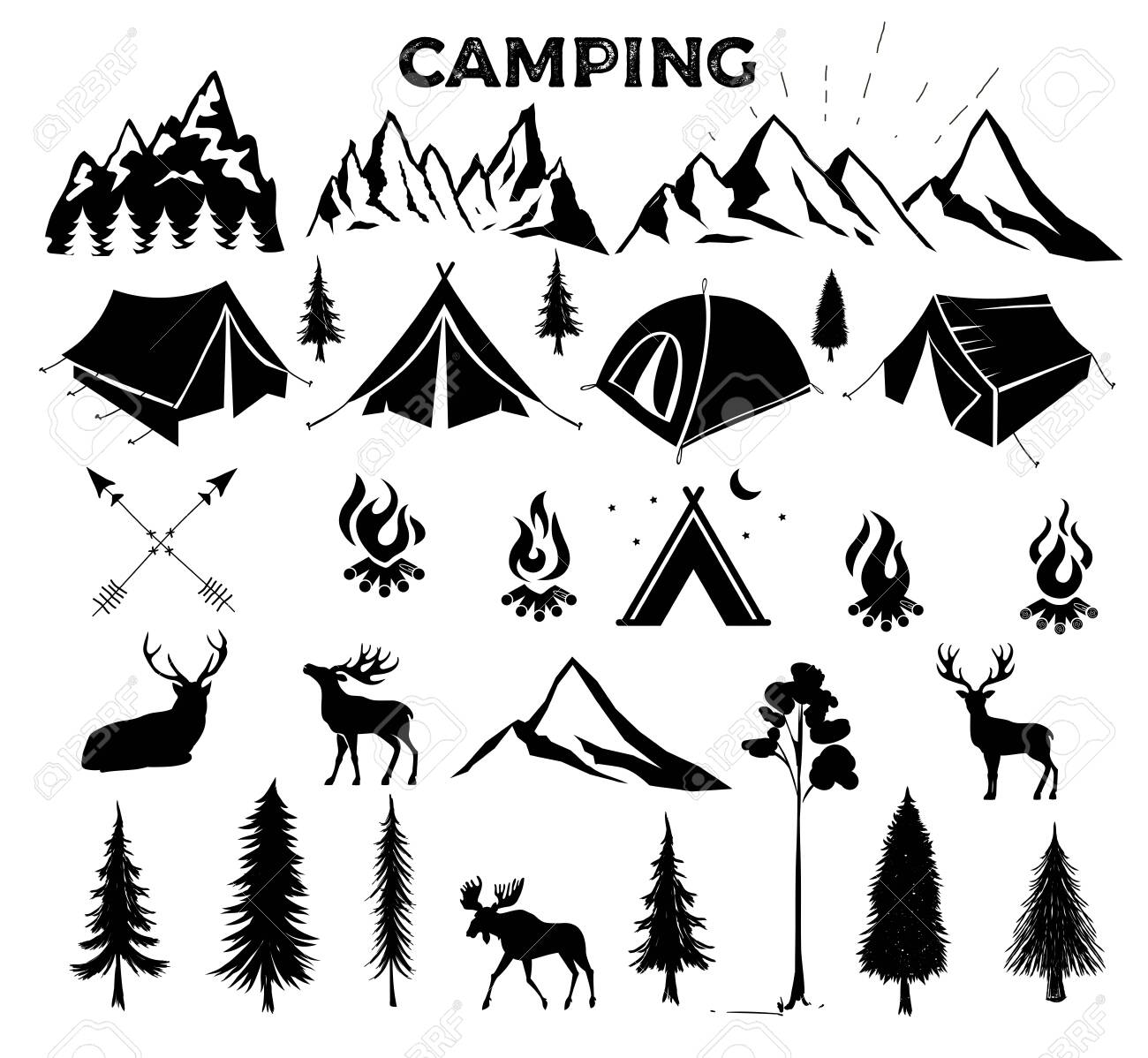 Travel Event. Camping vector logo template for your design. Tourist tent, forest, camp, trees, Camp badges, labels, banners, brochures. Set of vintage camping, outdoor adventure emblems. - 131824882