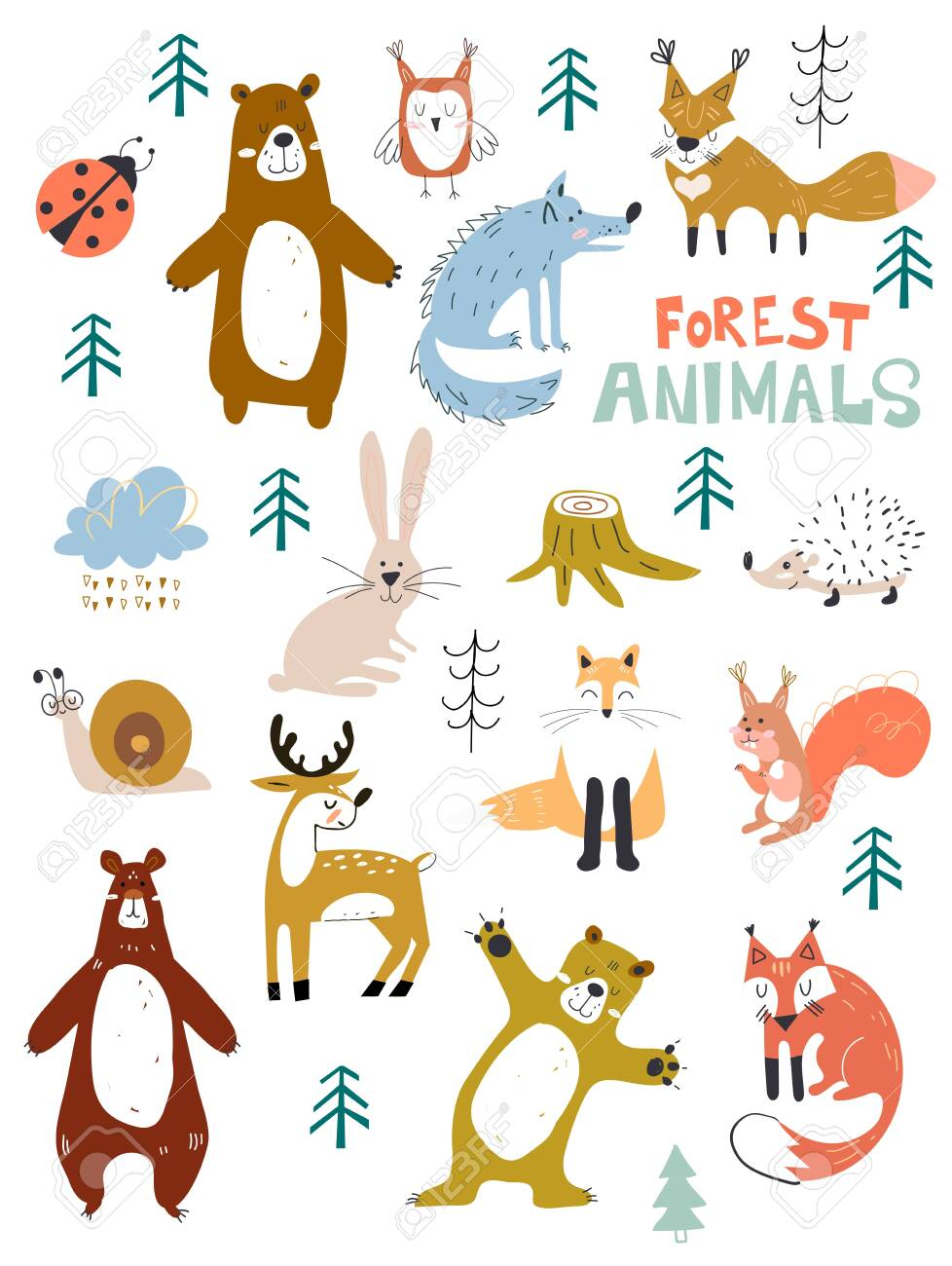 Vector woodland animals character, great for scrapbook,cute and sweet animals. Fall Floral Forest Design Elements. - 131759790