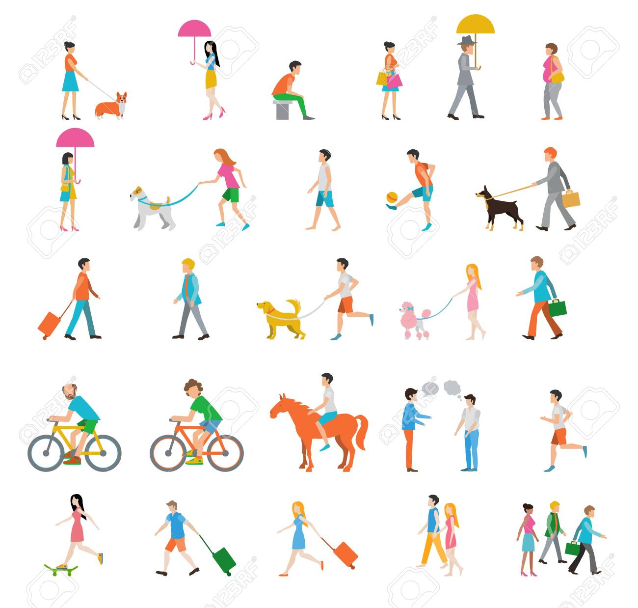 People on the street. Neighbors. Flat icons. - 141010284
