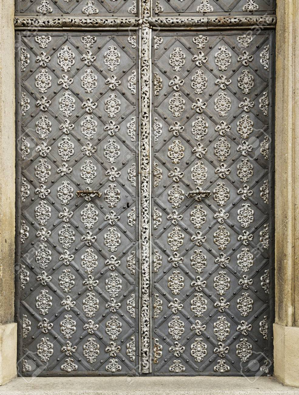 iron door with the handle old metal Church doors Stock Photo - 38849469 & Iron Door With The Handle Old Metal Church Doors Stock Photo ...