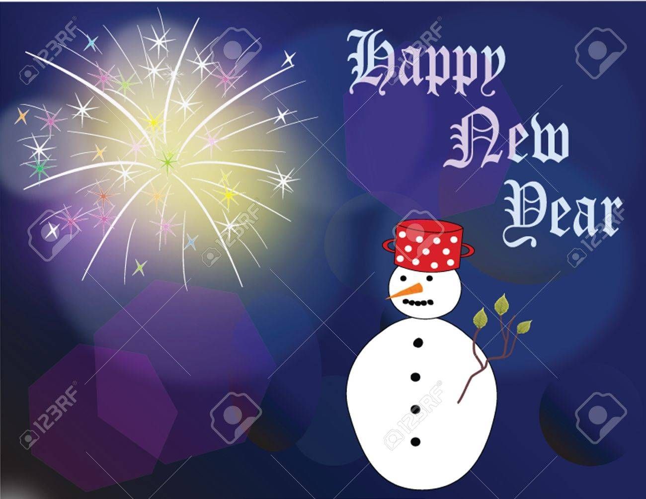 New  Year scard on blue background with fireworks and snowman Stock Vector - 17273073