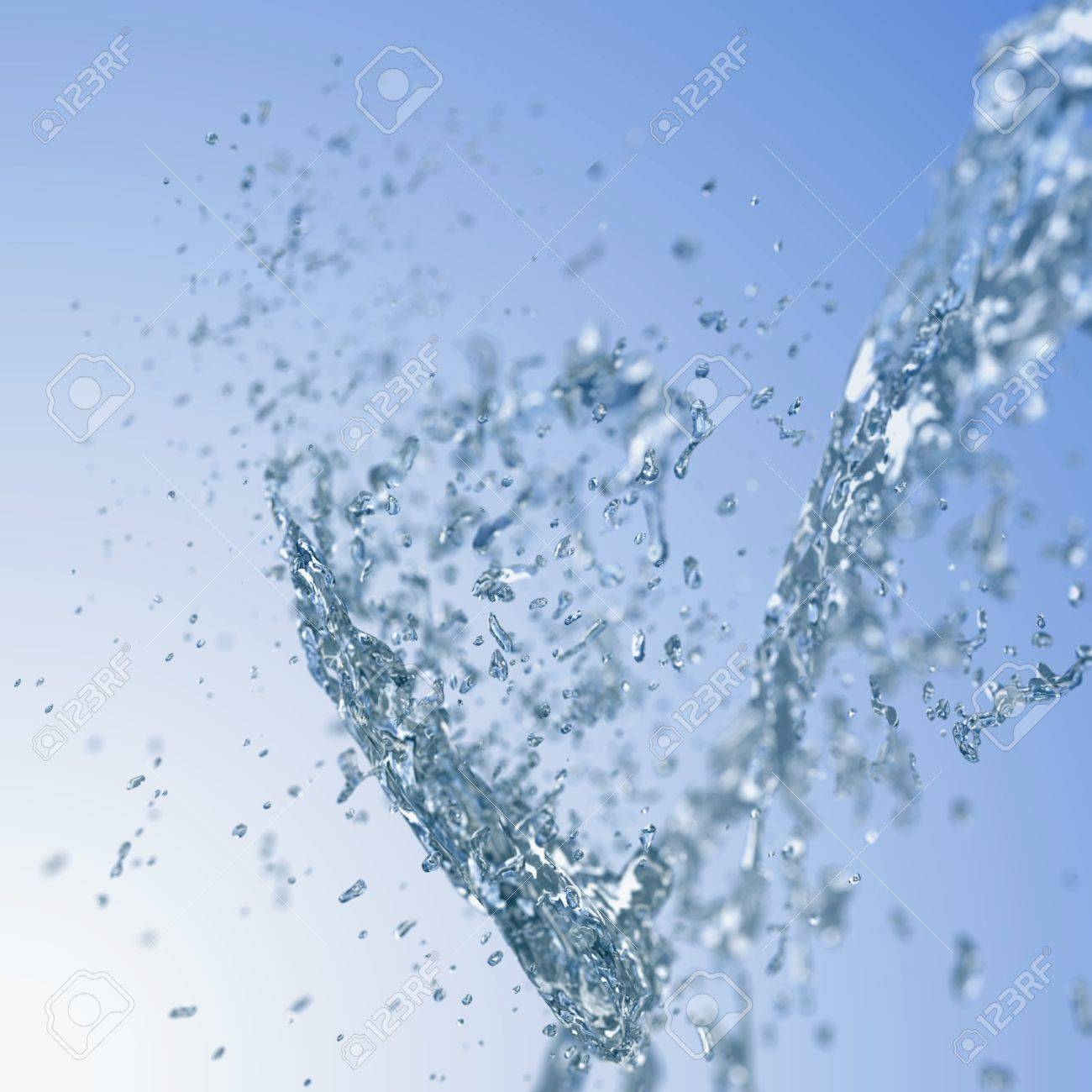 Abstract blurred background with blue water splash. Stock Photo - 19917672