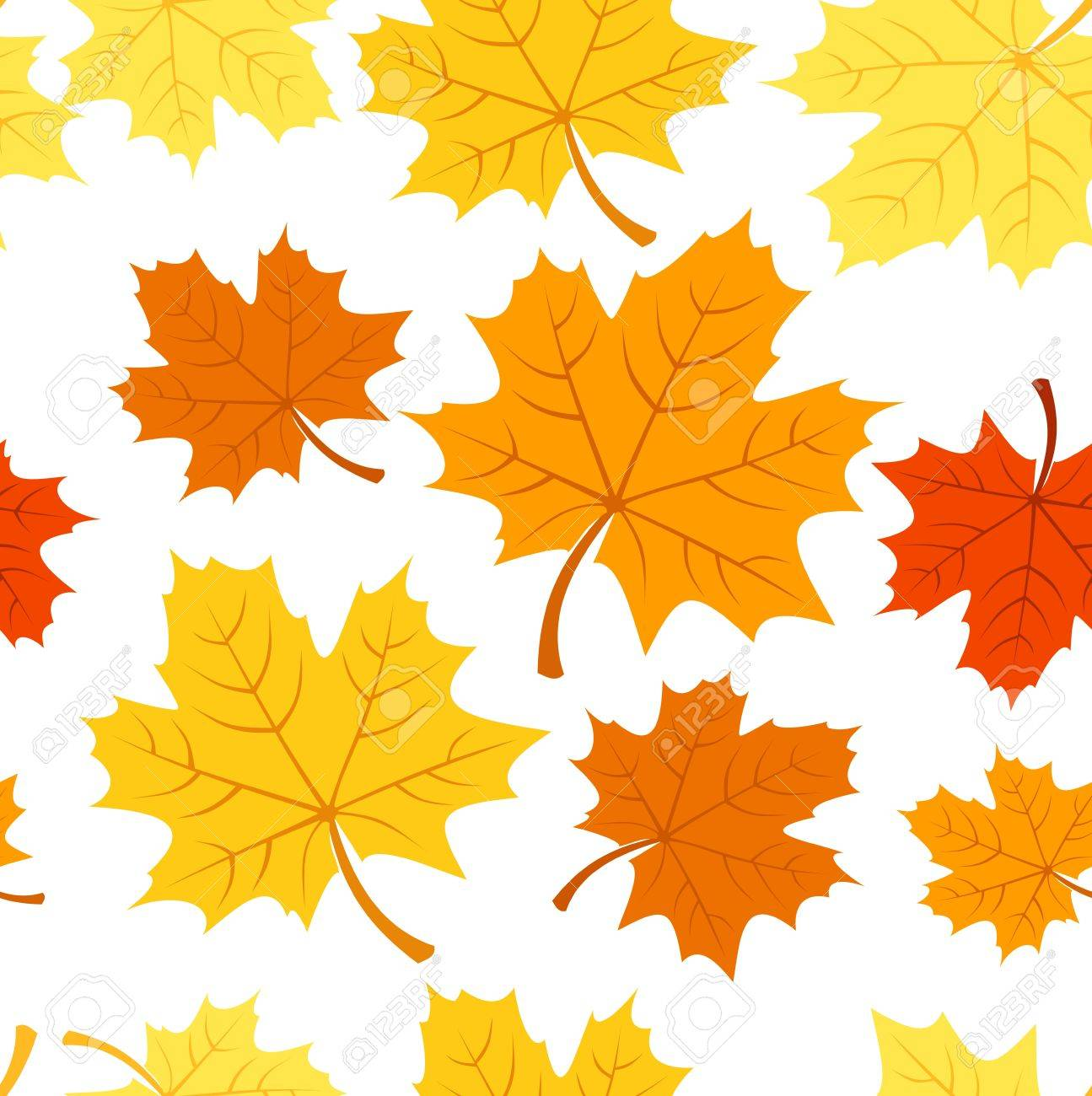Seamless pattern with autumn maple leaves. Vector illustration. Stock Vector - 18259460