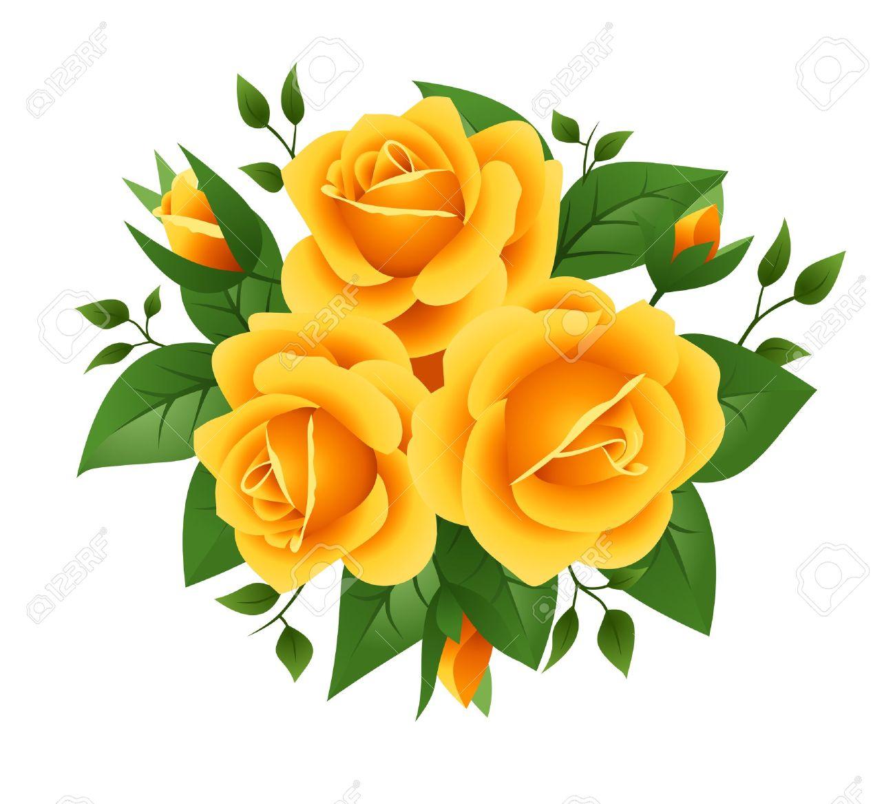 Tres Rosas Amarillas Vector Ilustración Ilustraciones Vectoriales