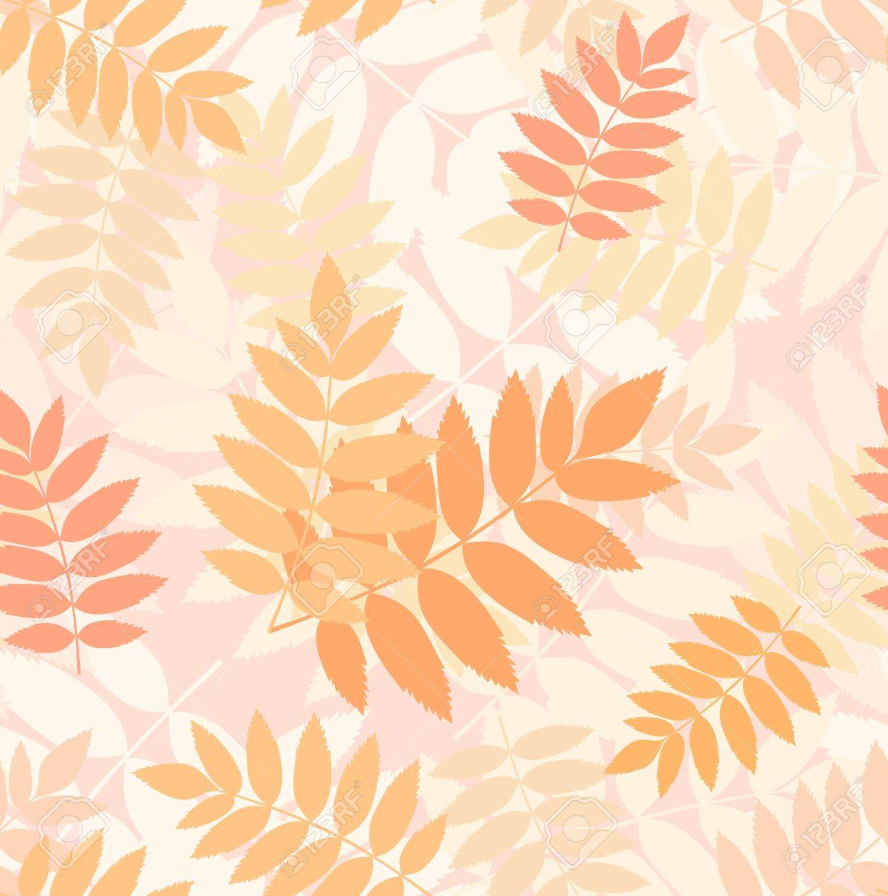 Seamless pattern with autumn rowan leaves  Vector Stock Vector - 18259516