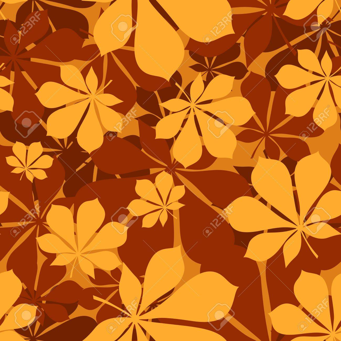 Seamless pattern with autumn chestnut leaves. Vector illustration. Stock Vector - 18259509