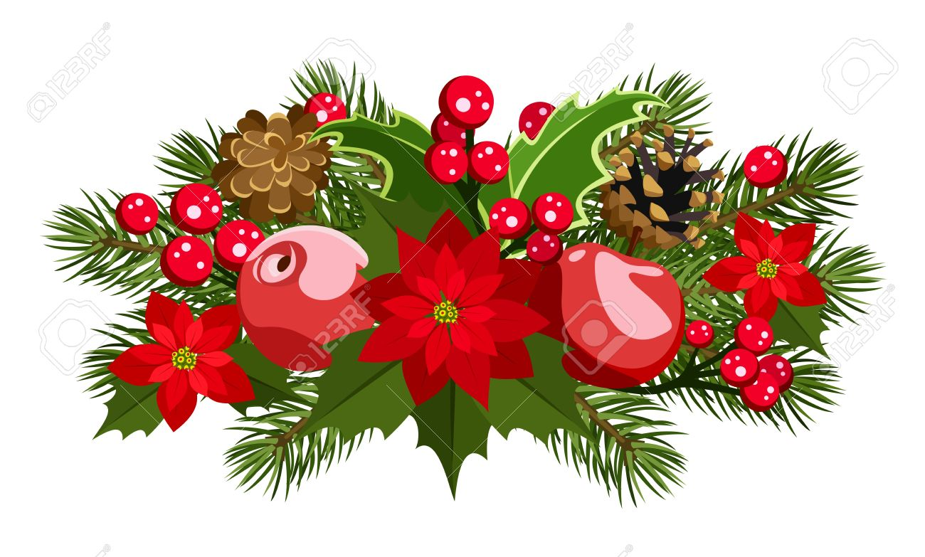 Christmas decoration with holly, fir-tree, cones, poinsettia and apples. Stock Vector - 18273150