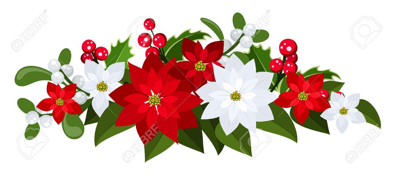 Weihnachtsstrauß Mit Roten Und Weißen Weihnachtssterne, Stechpalme ...