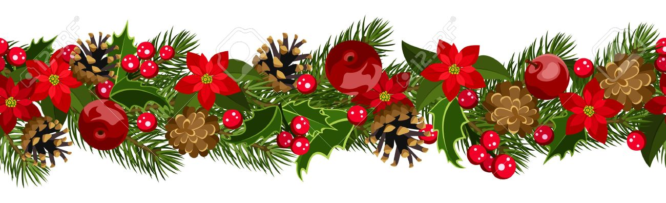 Christmas horizontal seamless background with fir-tree branches, cones, poinsettia and holly. - 18273247