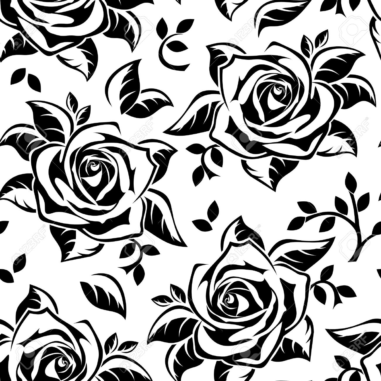 Seamless Pattern With Black Silhouettes Of Roses Illustration