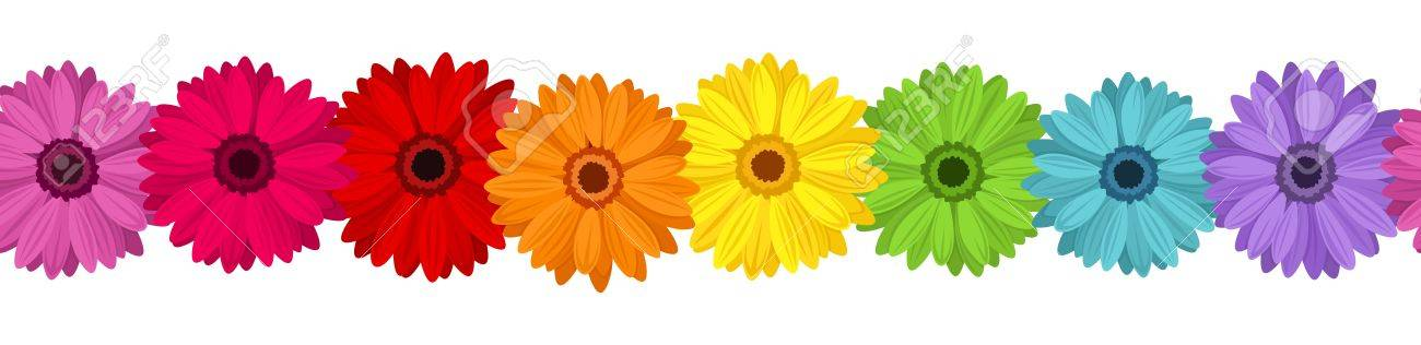 Horizontal seamless background with colored gerbera. illustration. - 18298601