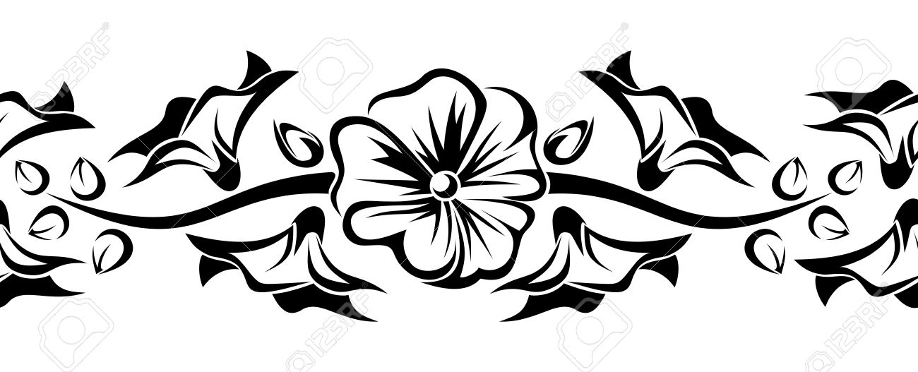 Horizontal Seamless Vignette With Mallow Flowers Stock Vector