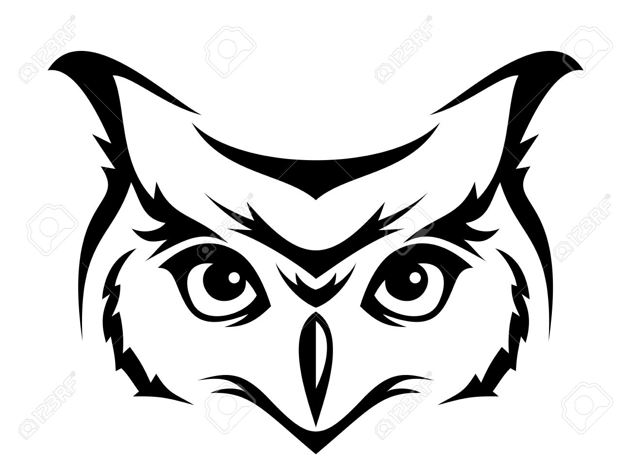 head of horned owl vector illustration royalty free cliparts rh 123rf com owl clipart black vector great horned owl vector art
