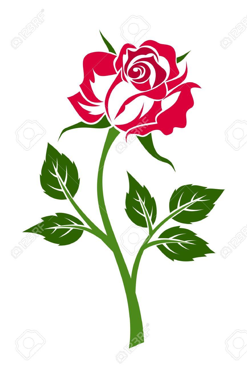 赤いバラの幹。ベクトル イラスト。 ロイヤリティフリークリップアート