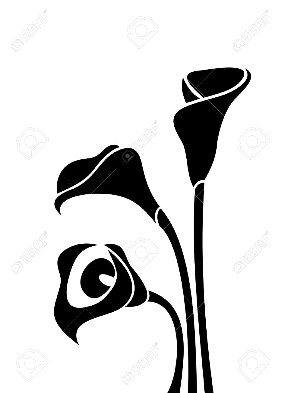 black silhouettes of calla lilies illustration royalty free cliparts rh 123rf com calla lily border clipart calla lily clip art free