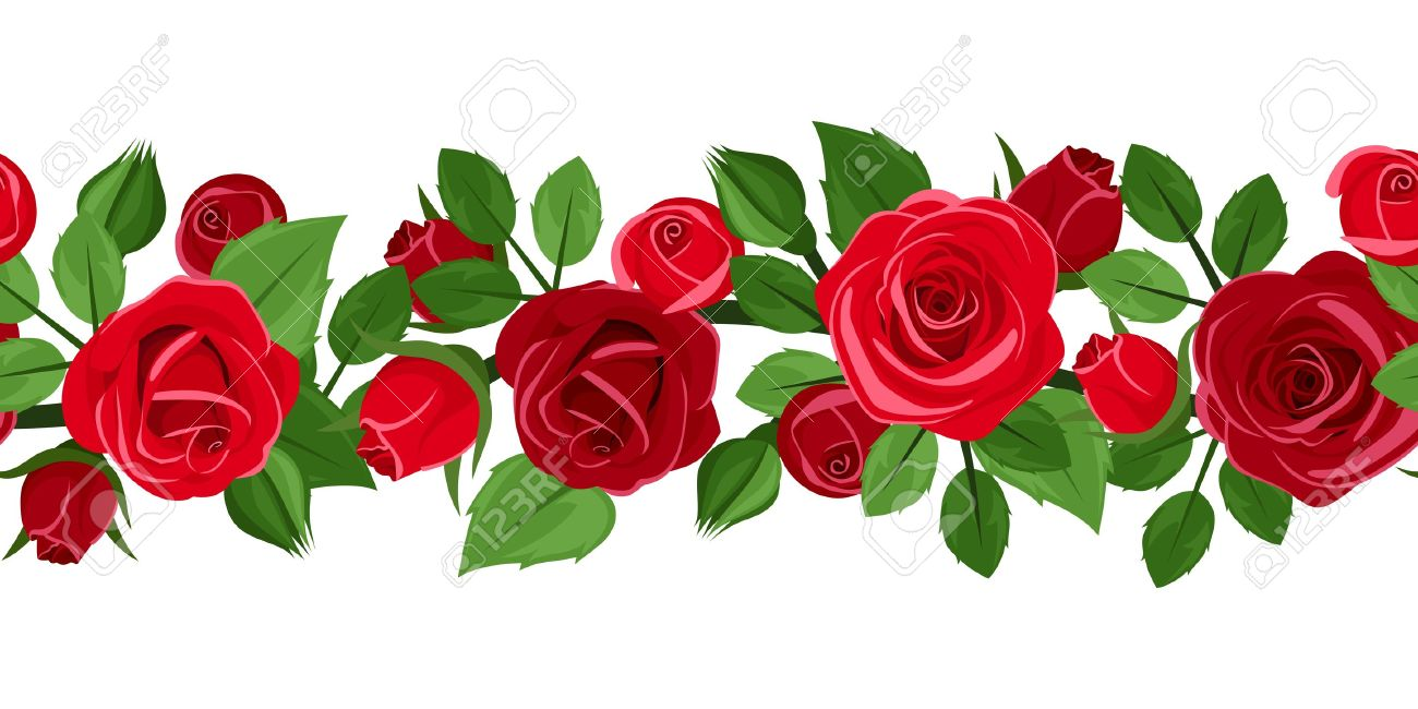 Horizontal seamless background with red roses. Vector illustration. - 20140578