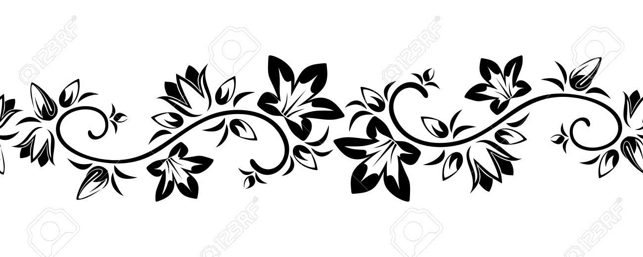 Horizontal seamless vignette with flowers Vector illustration