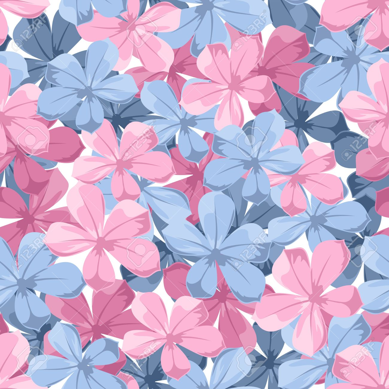 [Búsqueda] Sea Flower  20960707-seamless-background-with-blue-and-pink-flowers-vector-illustration